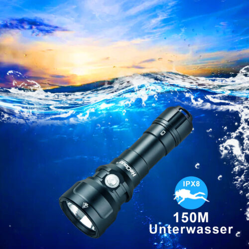 Waterproof LED Scuba Diving Flashlight Underwater 150M Torch W/Charger Battery