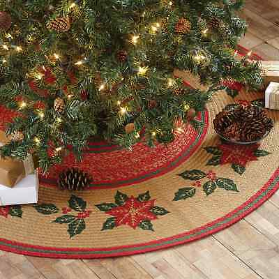 """POINSETTIA JUTE BRAIDED STENCILED CHRISTMAS TREE SKIRT 50"""" D NATURAL RED GREEN"""