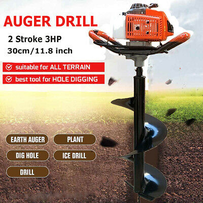 63cc 3hp Gas Powered Post Hole Digger Earth Auger Ground Drill With 12 Bit Us