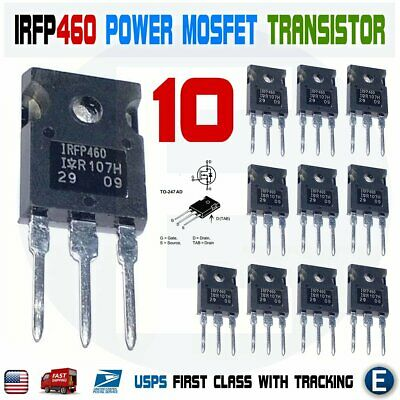 10pcs Irfp460 Irf460 Power Mosfet N-channel Transistor Irfp460n 20a 500v To-247
