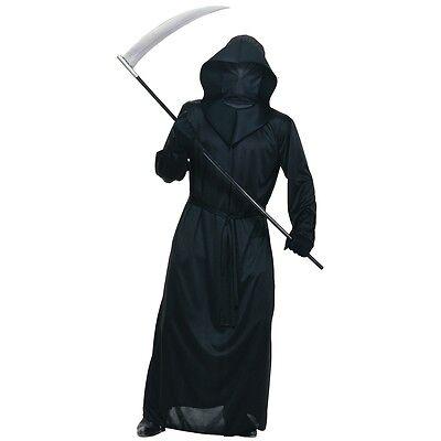 Mesh Face Black Robe Adult Grim Reaper Death Scary Halloween Fancy Dress (Black Face Kostüm)
