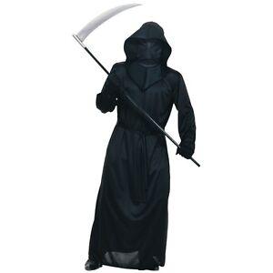 Mesh Face Black Robe Adult Grim Reaper Death Scary Halloween Fancy Dress Costume