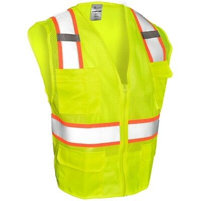 Ml Kishigo Class 2 Reflective Mesh Safety Vest With Pockets Yellowlime