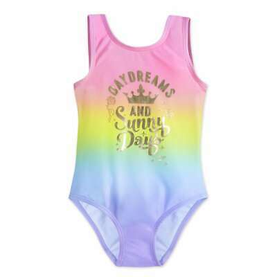 NWT Disney Store Princess Crown Rainbow Swimsuit 1 pc 5/6