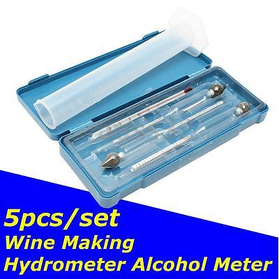 3Pcs Hydrometer Vinometer Alcohol Meter Tester Thermometer 0-100% 0-40-70-100