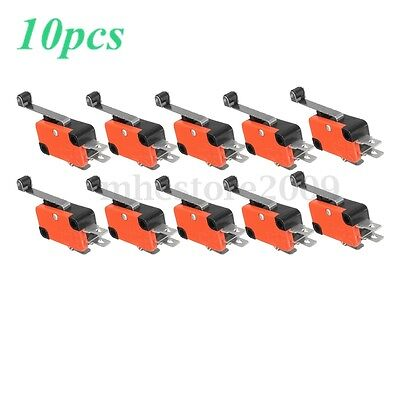 10x Micro Limit Long Roller Lever Contact Switch Spdt Ac125250v 15a 3pins New