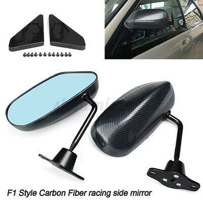 F1 Style Carbon Fiber Look Universal Car Racing Door Side Rearview Wing Mirror