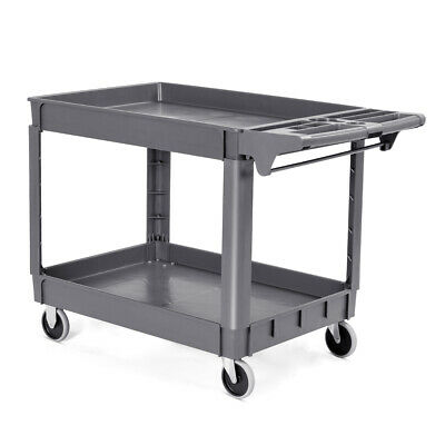 2-layer Plastic Utility Service Cart Rolling Trolley 550lbs 46 X 25 X 33