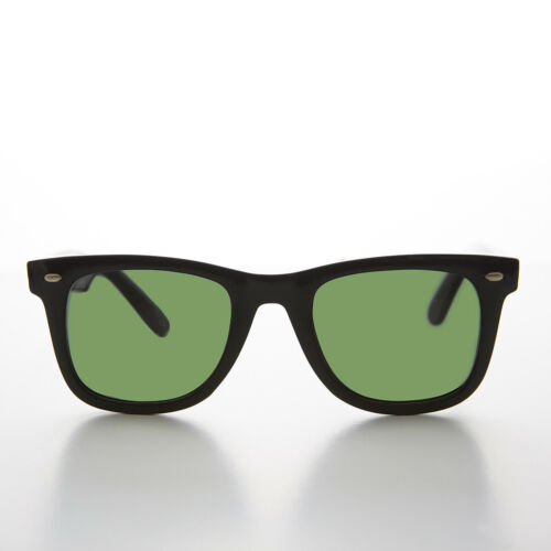 Classic Square Black Vintage Sunglass with Emerald Green Glass Lens - Campbell
