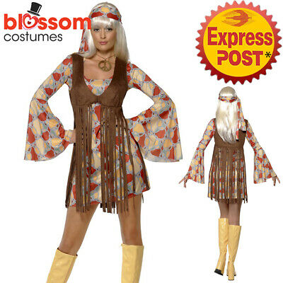 ippie Hippy 1970s Fringe Retro Disco Dress Up Womens Costume (Hippy Dress Up)
