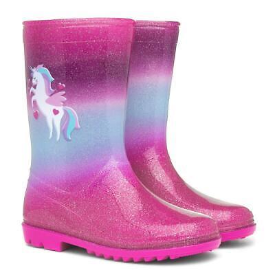 BNWT Girls Rainbows Pink Unicorns Rubber Wellington Snow Boots Handles Wellies
