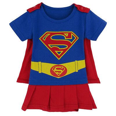 Baby Girl Superman Costume Bodysuit Newborn Superhero Dresses Playsuit Outfits - Baby Girl Superman Costume
