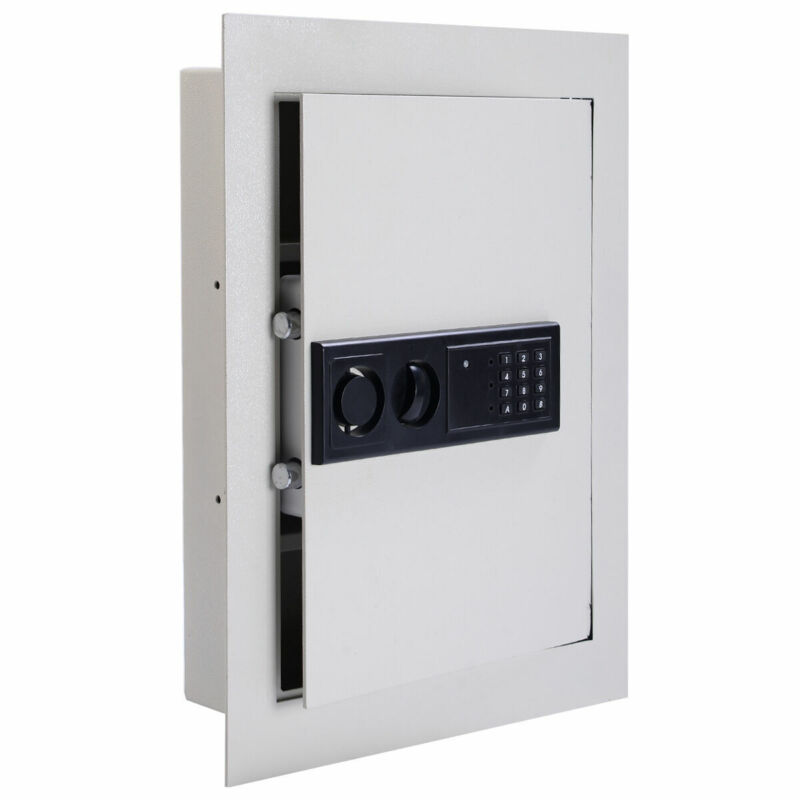 0.8CF Digital Flat Recessed Wall Safe Home Office Security Lock Gun Cash Box