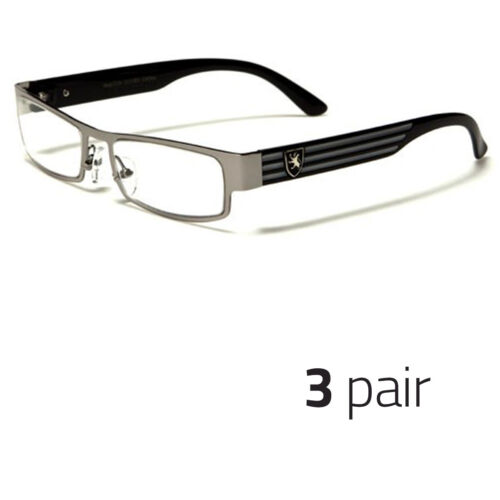 3 Pc Small Women Clear Lens Square Rx Sunglasses Black Silver Eyeglasses Silver