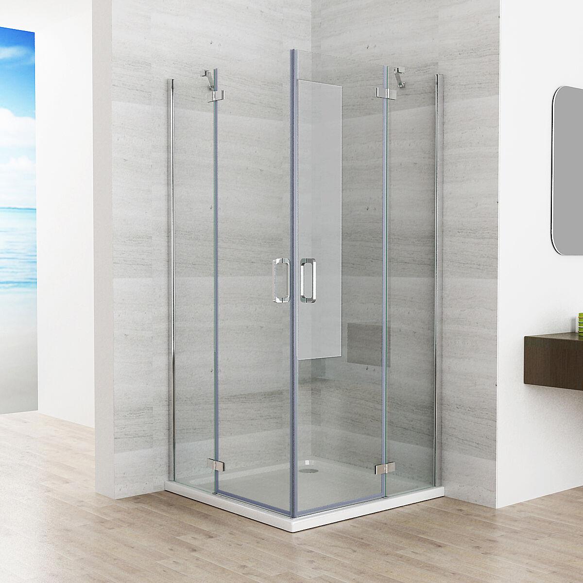 90 x 90 cm Duschkabine Eckeinstieg Duschwand Duschabtrennung Dusche NANO Glas JP