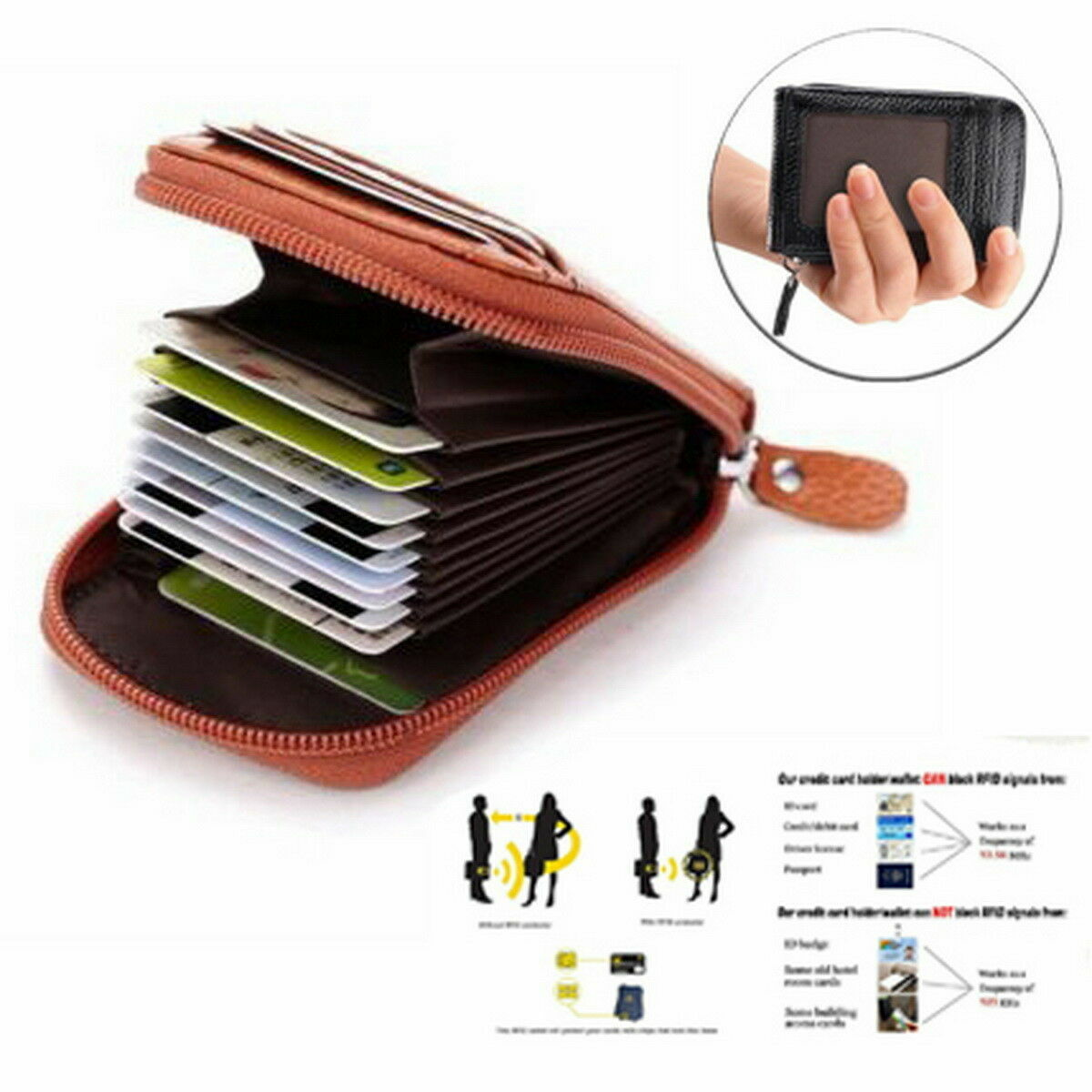 Men Wallet Credit Card Holder Genuine Leather RFID Blocking Zipper Pocket Thin Clothing, Shoes & Accessories