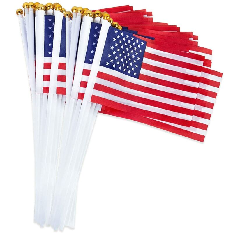 """American Flags Handheld Fabric US Flags Red Stripes Grommets USA 5"""" x 8"""" 50 PCS"""