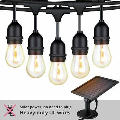 Solar String Lights S14 LED Solar Outdoor String Lights Waterproof 27FT Pergola  Indoor Outdoor String Lights