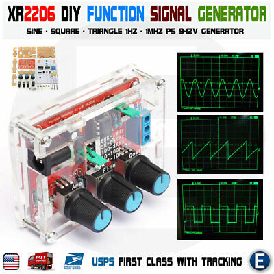 Xr2206 Function Signal Generator Diy Kit Sine Output 1hz-1mhz Acrylic Case Usa