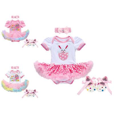 Baby Mädchen Erstes Ostern Hase Strampler Kleid Stirnband - Baby Ostern Outfits