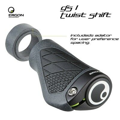 Ergon GS1 Single Twist Shift Mountain Bike Grips Black-Bicycle - Single Twist