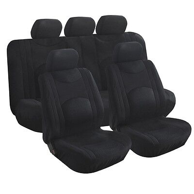 9pc Black Cloth Seat Cover Bench Front Rear Car Truck Bus Offroad Jeep SUV Van