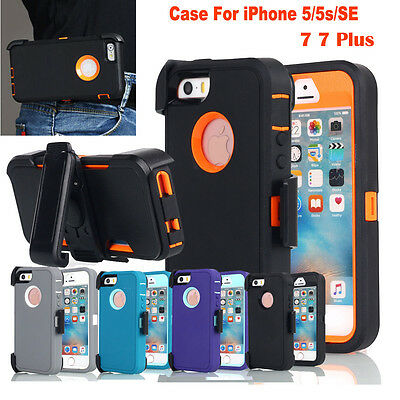 Heavy Duty Hybrid Shockproof Hard Case Cover Fr iPhone 5/5s/se+Belt Clip Holster