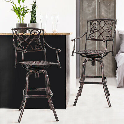 Set of 2 Cast Aluminum Swivel Bar Stool Patio Furniture Antique Copper Outdoor