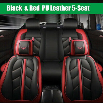 Full Set PU Leather Car SUVSeat Cover 6D Surround Breathable Cushion + Pillow