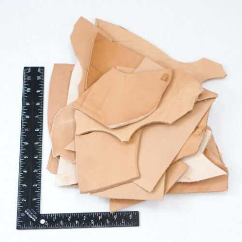 2 Pounds Veg Tan Scrap, Mixed Weight Cowhide Tooling Leather Remnants