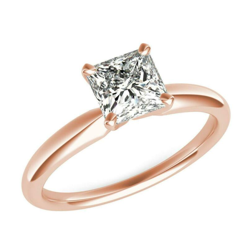 Wedding 1 Carat 14 Kt Rose Gold Red Diamond Princess Square Ring Si2 D Solitaire