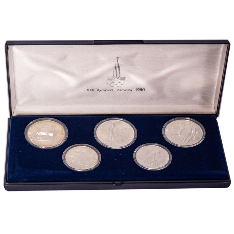 1980 Moscow Russia Olympics Silver (5) Five-Coin Set