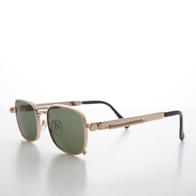 Tailored Rose Gold Sunglass with Industrial Temples and Green Lens (Tyga Sunglasses)