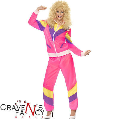 Ladies 80s Pink Shell Suit Costume Tracksuit Scouser Fancy Dress Outfit UK 8-22