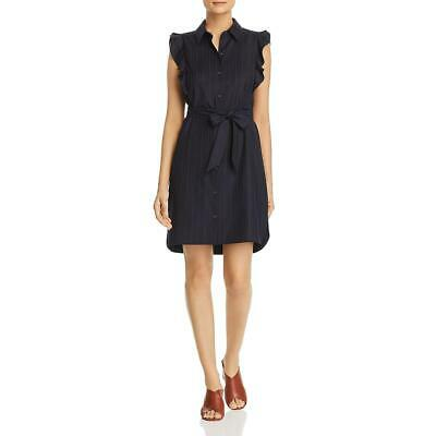 $328 T Tahari Women'S Blue Red Pinstripe Ruffled Sleeveless Shirt Dress Size 10