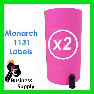 Pink Labels For 1131 Monarch-paxar Price Label Gun16 Rolls Ink Roller Included