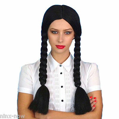Wednesday Addams Pocahontas Long Black Braids Wig Costume Accessory UNISEX (Wednesday Addams Wig)
