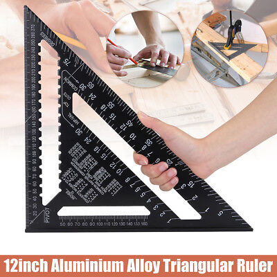 "30CM 12"" ROOFING SPEED SQUARE ALUMINIUM RAFTER ANGLE MEASURE TRIANGLE GUIDE UK"