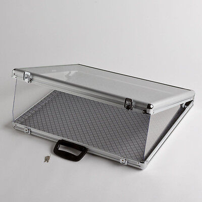 Small Portable Aluminum Glass Counter Top Locking Jewelry Display Case Handle