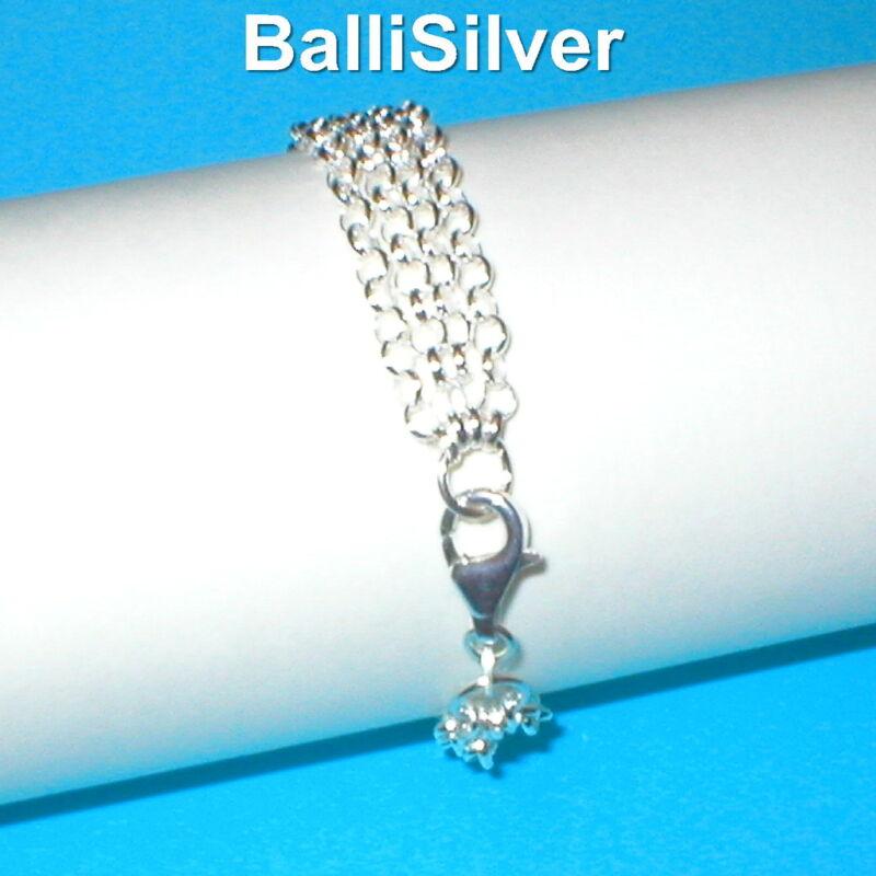 3 pieces 925 Sterling Silver 3.2mm ROLO Chain 4 STRAND BRACELETS Wholesale Lot