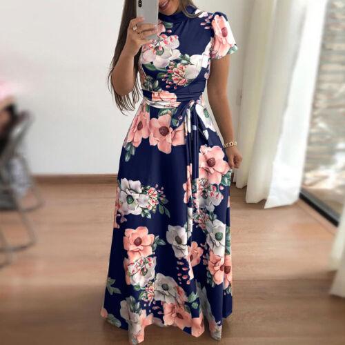 New Women's Summer Boho Floral Short Sleeve Long Maxi Dress Party Beach Sundress