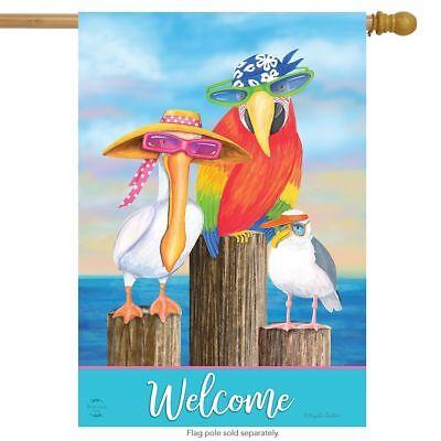 COASTAL BIRD WELCOME PELICAN SEAGULL BEACH SUMMER HOUSE FLAG 28X40 BANNER