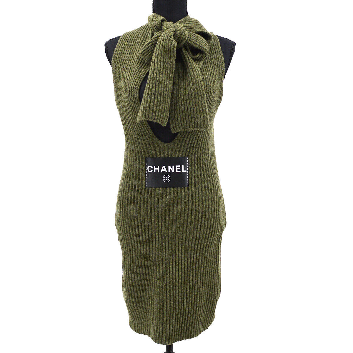Chanel 08c #34 cc logos robe sans manches one piece jupe kaki 37570