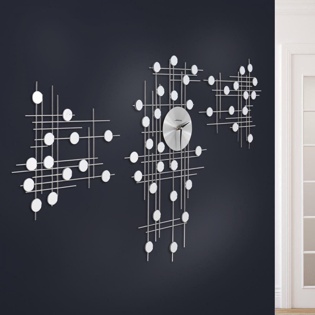 Stylishe Wanduhr 3-teilig im futuristischen Design mit kleinen Spiegeln