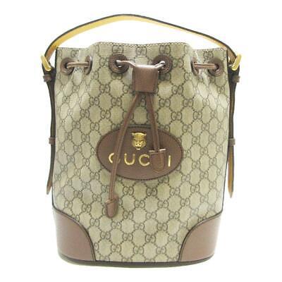 GUCCI Neo Vintage GG Supreme Backpack Drawstring Bag Beige 473875