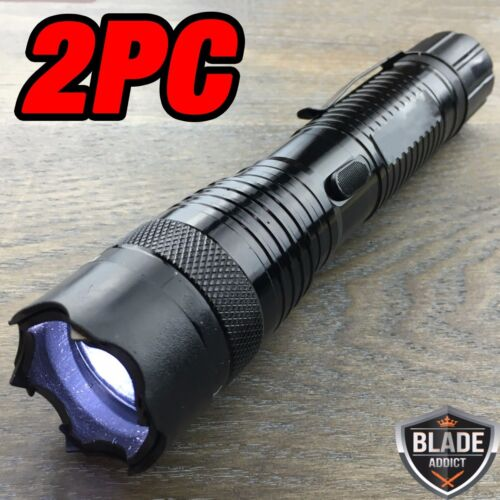 2 PC Metal POLICE Stun Gun 230 Million Volt Rechargeable LED Flashlight NEW