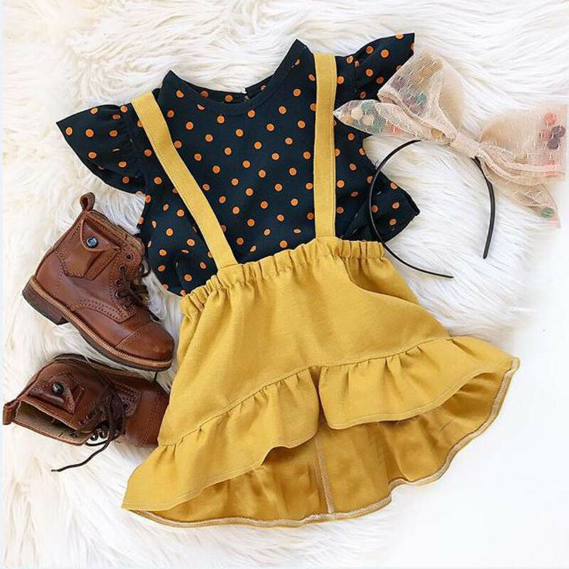 US Toddler Kid Baby Girl Outfit Clothes Dot T-shirt Tops+Strap Dress Skirt 2PCS