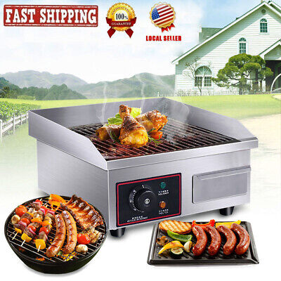 1500w 14 Electric Countertop Griddle Flat Top Commercial Restaurant Grill Bbq
