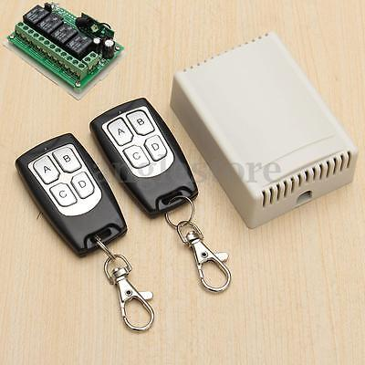 DC 12V 4CH Wireless Remote Control Relay Switch 2 Transmitter + Receiver