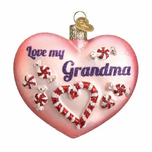 Old World Christmas GRANDMA HEART (Love My Grandma) (30043)N Glass Orn. w/ Box